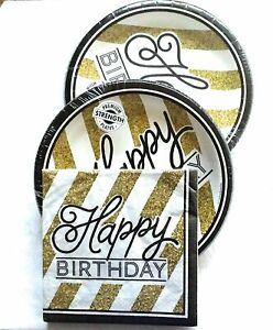 Black And Gold Happy Birthday Party Bundle With Paper Plates And Napkins For 16