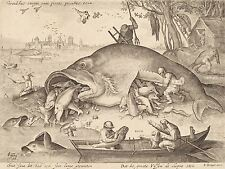 HENDRIK HONDIUS BRUEGEL BOSCH DUTCH BIG LITTLE FISH ART PAINTING POSTER BB5603A