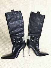 Gianmarco Lorenzi Knee High Stiletto Boots Leather Size 39