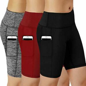 Women High Waist Yoga Shorts Side Pocket Gym Cycling Biker Pants Sports Leggings