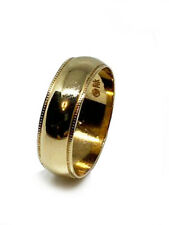 Polished Wedding Ring Band With Milgrain Detailing In 14k Yellow Gold (6mm)