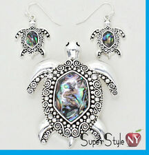 """Spiral Abalone Sea Turtle Ocean Life Pendant Necklace Earrings With 23"""" Chain"""