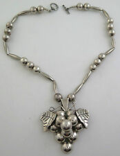 Heavy Sterling Silver Relief Grape Cluster Beautiful Taxco Pendant Necklace