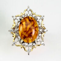 Natural Oval Orange Amber Poland 16x12mm White Cz 925 Sterling Silver Ring