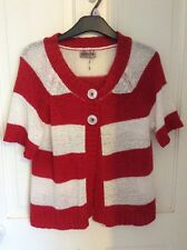 ladies s/m short sleeve red & ivory striped cardigan ex con hardly worn Aimee