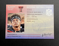 2017 PANINI PRESTIGE #5 PATRICK MAHOMES ROOKIE KC Chiefs Football Card - Mint