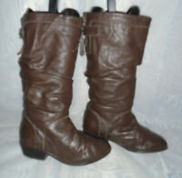 WOMENS NEW LOOK  DARK BROWN Pull ON LEATHER UPPER CALF BOOTS SIZE:3/36(WB1068)