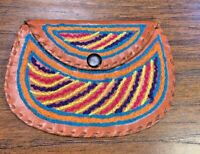 Vintage Leather Coin Purse Wallet Embroidered Leather Cognac Brown Multicolor