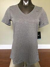 New Nike Women Dri-Fit V-Neck Short Sleeve T-Shirt Grey Size L Style 684683