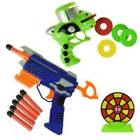 Kids Soft Shooter Gun Air Blaster Game Foam Bullets & Disc Target Scoring Dart