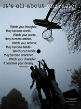 Basketball IT'S ABOUT CHARACTER Inspirational Motivational Poster Print