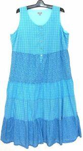 J. JILL maxi dress, tiered style, sz. 18/2X, water blue, as new