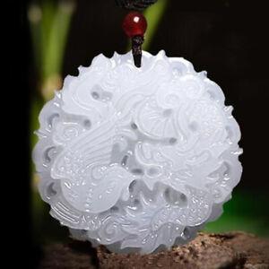 Natural Burmese Grade A  White Jadeite Jade Dragon Pendant Necklace