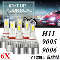 9006+9005+H11 LED Headlight 450W 65000LM Hi-Lo Beam Combo Kit 6000K Lamp White ~