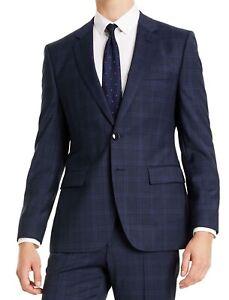Hugo Boss Mens Suit Jacket Navy Blue Size 38 Classic Fit Plaid Wool $445 029