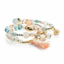 Three Piece Silver Gold Colour Pink and Blue tone Elasticated Bracelet Set