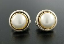 606551b23 Tiffany & Co Paloma Picasso 18K Gold Sterling Silver Pearl Button Mabe  Earrings