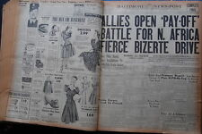 WW2 NEWSPAPER May 7 1943 Allies Open Pay Off Battle For N.Africa BNP CF