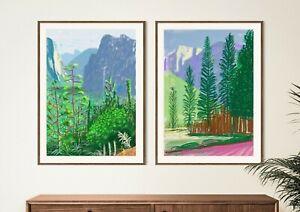 David Hockney Set of 2 Posters, Yosemite National Park, Floral Wall Art