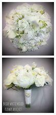 PEONIES VINTAGE BOUQUET BRIDE BROOCH WEDDING FLOWERS WHITE MIXED FLOWERS LILIES