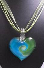 Lampwork  Murano Green Glass Heart Pendant & Necklace ~ Free Shipping G45