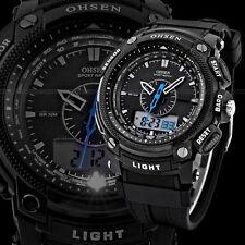 Ohsen Sumergible Digital LCD Alarma de día Negro para Hombre Militar Deporte Reloj de Goma Ks