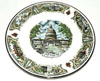 Vintage Capital Washington DC Souvenir Porcelain Plate of Capital & 6 Landmarks
