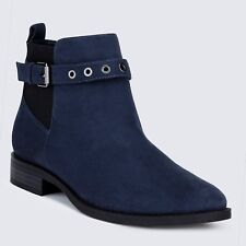 M&S LTD EDITION Faux Suede LOW Heel ANKLE BOOTS ~ Size 6 ~ NAVY BLUE