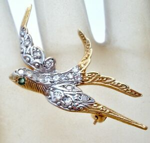 14K Yellow Gold Diamond Pin Bird in Flight with Diamonds .5 Ct Vintage Jewelry