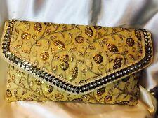 New Gold Bronze Handbag Clutch Wallet Bollywood Indian Dress Purse Art Silk