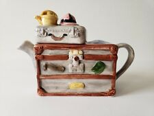 Miniature Teapot Travel Trunk Brown Suitcase Explorer World Vacation