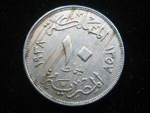 EGYPT 10 Milliemes 1938 King Farouk 124# Money Coin