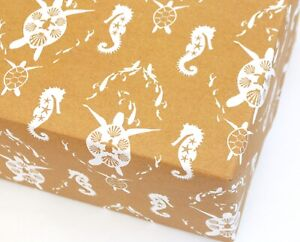 Plastic Free Recycled Wrapping Paper Eco friendly, Turtle Ocean, Manilla & White