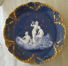 A Large Antique Porcelain Pate sur Pate Plate Depicting 3 Nude Ladies