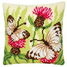 """Floral Butterflies Cushion Cover 16"""" x 16"""" Cross Stitch Kit"""