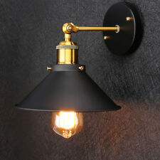 PAIR OF MODERN VINTAGE INDUSTRIAL LOFT METAL BLACK RUSTIC SCONCE WALL LIGHT LAMP