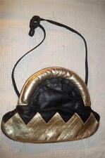 Vintage 70's TIMMY WOODS Black & Gold Textured Leather Shoulderbag Handbag Purse