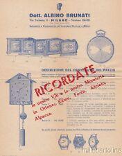 § BRUNATI OROLOGI ALL'INGROSSO - Foglio pubblicit. e lettera - Milano 1952