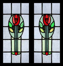 Art Nouveau Mackintosh Rose Pair English Antiue Stained Glass Window