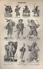Lithografie 1895: Landsknechte. nach Holbein HS Beham F. Brun D. Hopfer J.Amman