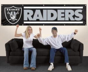 Oakland Las Vegas Raiders 8 feet by 2 feet Heavy Duty Tailgate Banner