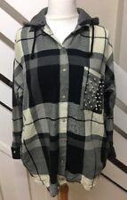 Ladies Zara Oversized Check Shirt With Studded Pocket Detachable Hood Size Small