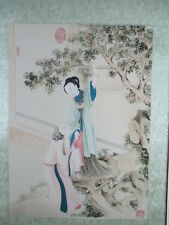 Antiguo roll imagen amor erótico sexo china 1980 mano pintado firmado hanging scroll 1m
