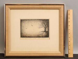 1975 Orig AKEMI INAGAKI Pencil Signed Japanese Etching, Evening Gloom Landscape