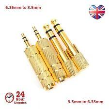 4pcs Gold 3.5mm Jack Socket to 6.5mm Mini Headphone Adaptor Plug Audio Convert