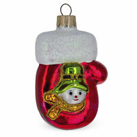 Shiny Mitten with Snowman Glass Christmas Ornament