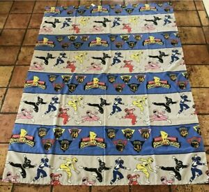 Vintage Set Of Mighty Morphin Power Rangers Twin Bed Sheets Flat and Fitted 1994