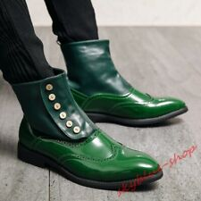 Men High Top Faux Leather Brogue Shoes Shiny PU Leather Button Decor Riding Boot
