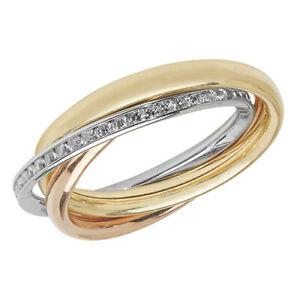 9ct Gold Russian Wedding Ring Diamond 9 Carat White Yellow Rose Gold Band Size S