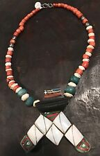 Antique Tuareg Berber Necklace- Ethnic Tribal HAMSA Shell Amazonite Coral Beads